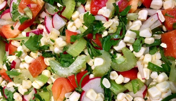 Corn Radish Salad with Curry Dressing